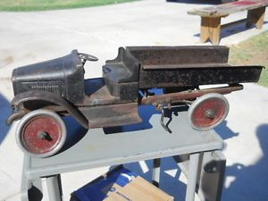 Antique Large Pressed Steel Buddy L Toy Dump Truck Played with Parts or Restore