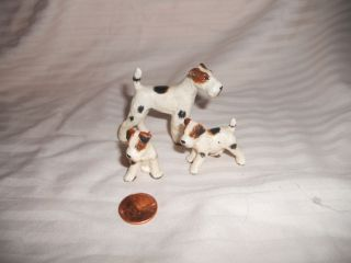 Vintage Miniature Animal Bone China Figurine Scottish Terrier Dog Family