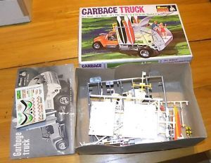 Vintage 1968 Monogram Garbage Truck Model Kit Box Some Parts Mod Surf Hippie