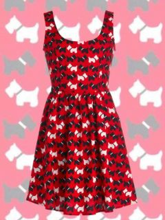 Scottish Terrier Black White Scottie Dog Print Red Tank Dress Folter Pockets