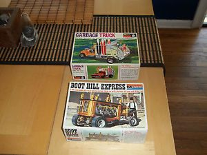 Vintage Monogram 1 24 Scale Model Kits for Parts Hearse and Garbage Truck Surf