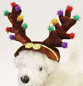 Adorable Dog Puppy Pet Christmas Reindeer Deer Antlers Costume w Adj Chin Strap