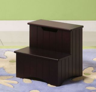 Kings Brand Dark Cherry Finish Wood Bedroom Step Stool with Storage New