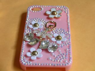 3D Diamond Rhinestone Bling Ballerina iPhone 4G 4S Cell Phone Cases Covers