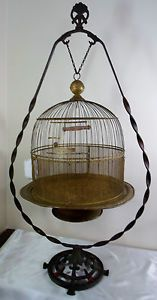 Antique Victorian Art Deco Nouveau Brass Hendryx Bird Cage Stand Glass Feeder