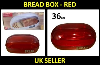 Large Retro Kitchen Bread Bin Roll Top Lid Food Storage Box Container Red