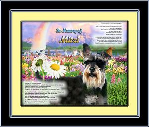 Pet Memorial Mini Schnauzer Personalized w Dog's Name Rainbow Bridge Unique Gift