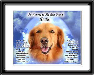 Pet Memorial Golden Retriever Personalized w Dog's Name Heaven Poem Unique Gift
