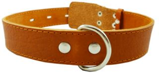 "Light Brown Leather Dog Collar 20"" 25"" 1 5""Wide Large"