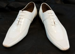 Mens White Leather Dress Shoes
