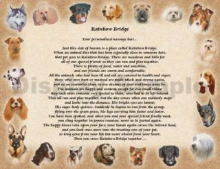 Personalized Dog Memorial Rainbow Bridge Poem Loss of Pet Animal Memorial