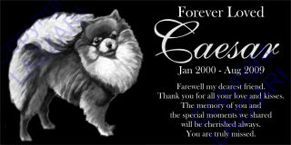 "Personalized Pomeranian Pom Pet Dog Memorial 12x6"" Engraved Granite Grave Marker"