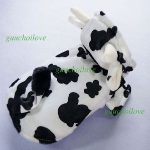 "12""Chest Cute Cow Dog Clothes Small Pet Coat Halloween Costumes Warm Cat Hoodies"
