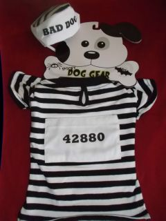 M Jail House Striped Prison Inmate Bad Dog Dog Costume Pet Halloween Costume