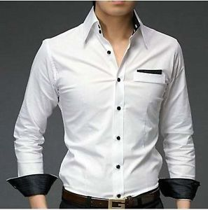 Mens Casual White Slim Fit Shirt