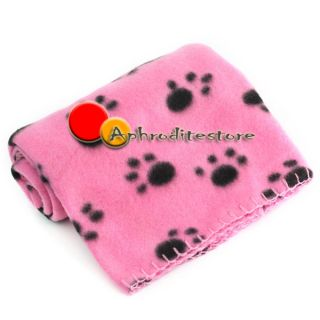 Pet Dog Cat Puppy Kitten Soft Blanket Doggy Warm Bed Mat Paw Print Cushion Pink