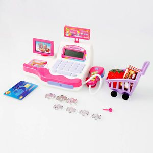 Kids Pretend Toy Groceries Cash Register Sounds Lights Scanner Money Pink