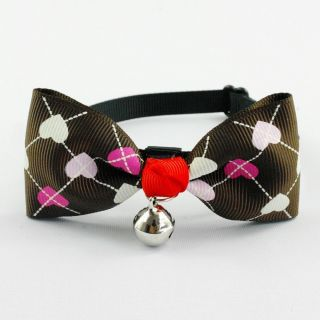 Deep Brown Polyester Dog Puppy Cat Bow Tie Necktie Bowknot Dog Collar with Bells