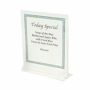 "8 1 2"" x 11"" Clear Acrylic Plastic Table Card Menu Paper Holder Display Stand"
