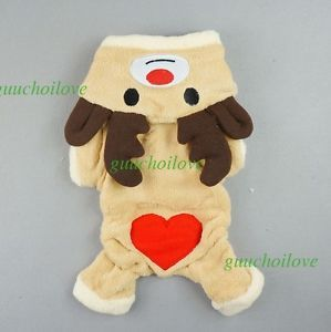 Xmas Reindeer Dog Coat Pet Clothes Christmas Cat Costumes Hoodie Warm Jumpsuit ★