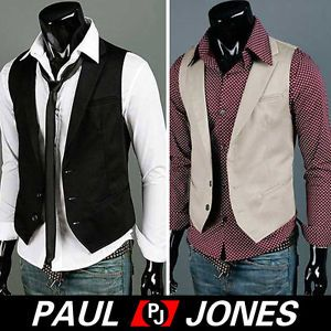 Formal PJ Mens Fashion Casual Slim Fit Dress Vest Waist Coat Black Beige