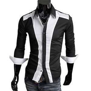 Unique Patch Designed Sexy Men's Casual Slim Fit Dress Shirts Luxury in 4sz 2393