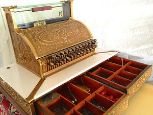 Antique Brass Bronze RARE 2 Drawer National Cash Register Restored Working
