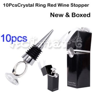 Crystal Diamond Ball Red Wine Bottle Stopper Wedding Favors Gift New Boxed