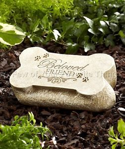 Dog Memorial Beloved Friend Garden Stone Pet Grave Marker Outdoor Headstone
