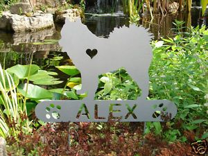 American Eskimo Dog Pet Memorial Garden Plaque Yard Stake K9 Personalized Metal
