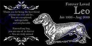 Personalized Dachshund Doxie Pet Dog Memorial 12x6 Engraved Granite Grave Marker