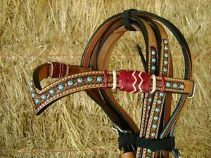 Madcow Herringbone Braided Rawhide Leather Silver Show Bridle Headstall Reins