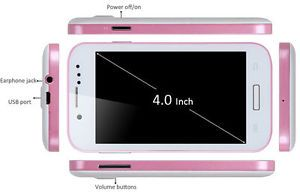 "Pink 4"" Unlocked Android Smartphone Cell Phone Dual Sim WiFi at T Straight Talk"