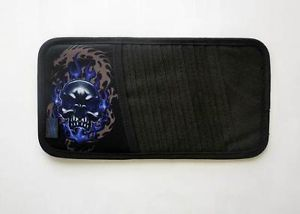 Flaming Skull Auto Car Vehicle 10 Capacity CD DVD Visor Holder Sleeve Organizer