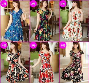 2013 Fashion Women Lady Short Sleeve Printing V Neck Chiffon Casual Mini Dress