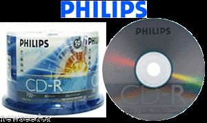 Philips® CD R 50 Discs 52x CD R Blank Recordable CD CDR Media Disc in Cake Box