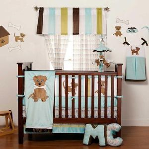 Puppy PAL Boy 3 Piece Baby Crib Bedding Set by One Grace Place