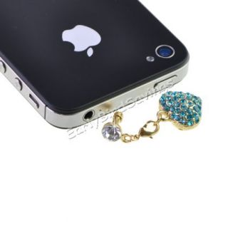 Heart Bling Apple iPhone Anti Dust Plug Cell Phone  Charm Strap Light Blue