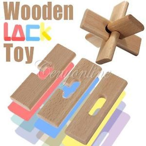 DIY Wooden Child Intelligence Education Puzzle Lock Toy Birthday Christmas Gift