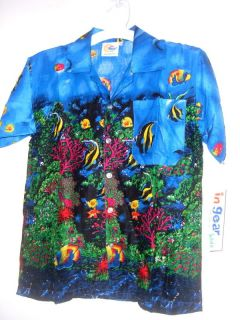New Kids Youth Hawaiian Shirt Tropical Fish Tropical Reef Pic Sz Color