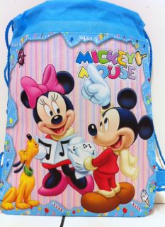 "New 14"" Disney Mickey Minnie Mouse Children's Draw String Bag Backpack Free SH"