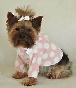 S Pink and White Dots Dog Hoodie Clothes Shirt Pet Apparel Small