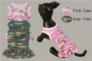 Pet Clothes Wholesale Small Dog Dresses Summer Camo Army Style Costumes 2 Colors