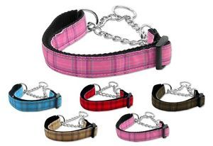 Dog Pet Puppy Plaid Martingale Choker Nylon Collar Limited Slip Safety Leash