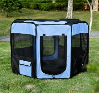 "New 46"" 2 Door Soft Pet Playpen Exercise Cage Dog Pen Puppy Kennel Blue"