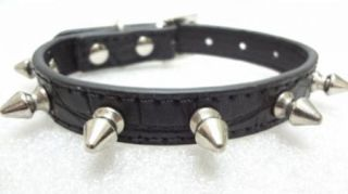 Black Red White Rose Red Gator Leather Spiked Studded Small Dog Puppy Collars