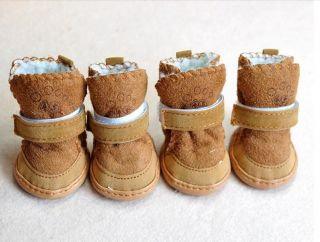 Coffee Size 3 Fashion Winter Warm Cozy Small Dog Shoes Boots Clothes Pet Supply