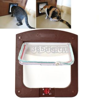 Pet Cat Kitty Small Dog Doggy Flap Safe Door Tunnel 2 Colors 4 Way Locking