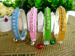 Bling Rhinestone Diamond Leather Pet Cat Dog Puppy Collar with Bell Small S