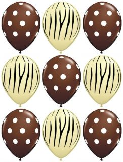 10 Safari Zebra Ivory Brown Polka Dot Balloons Set